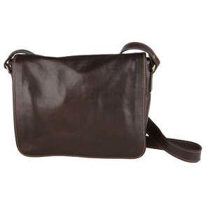 Tmavě hnědá kožená taška přes rameno Chicca Borse Norma