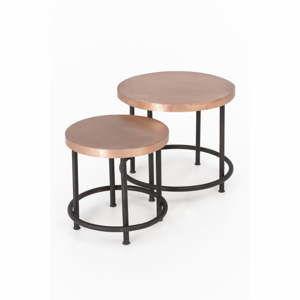 Sada 2 odkládacích stolků z mangového dřeva s kovovou konstrukcí Index Living Industrial