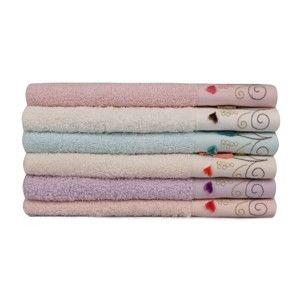 Sada 6 barevných ručníků z čisté bavlny Hanna, 30 x 50 cm