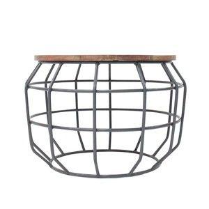 Tmavě šedý příruční stolek s deskou z mangového dřeva LABEL51 Pixel, ⌀56 cm