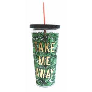 Plastová láhev s brčkem Portico Designs Palm Leaves, 568ml