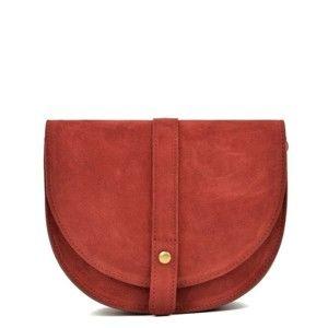 Červená kožená kabelka Anna Luchini Brenda