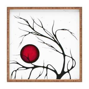 Dřevěný dekorativní servírovací tác Red Moon, 40x40cm