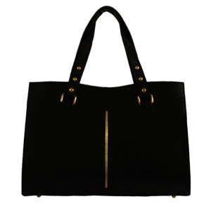 Černá kožená kabelka Chicca Borse Veronica