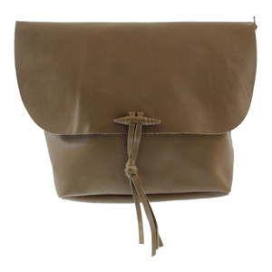 Hnědobéžová dámská kožená taška přes rameno Chicca Borse Ragida