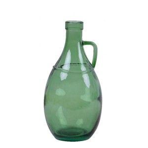 Zelená skleněná váza s uchem z recyklovaného skla Ego Dekor, výška 26 cm