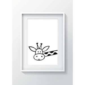 Nástěnný obraz OYO Kids BW Giraffe, 24 x 29 cm